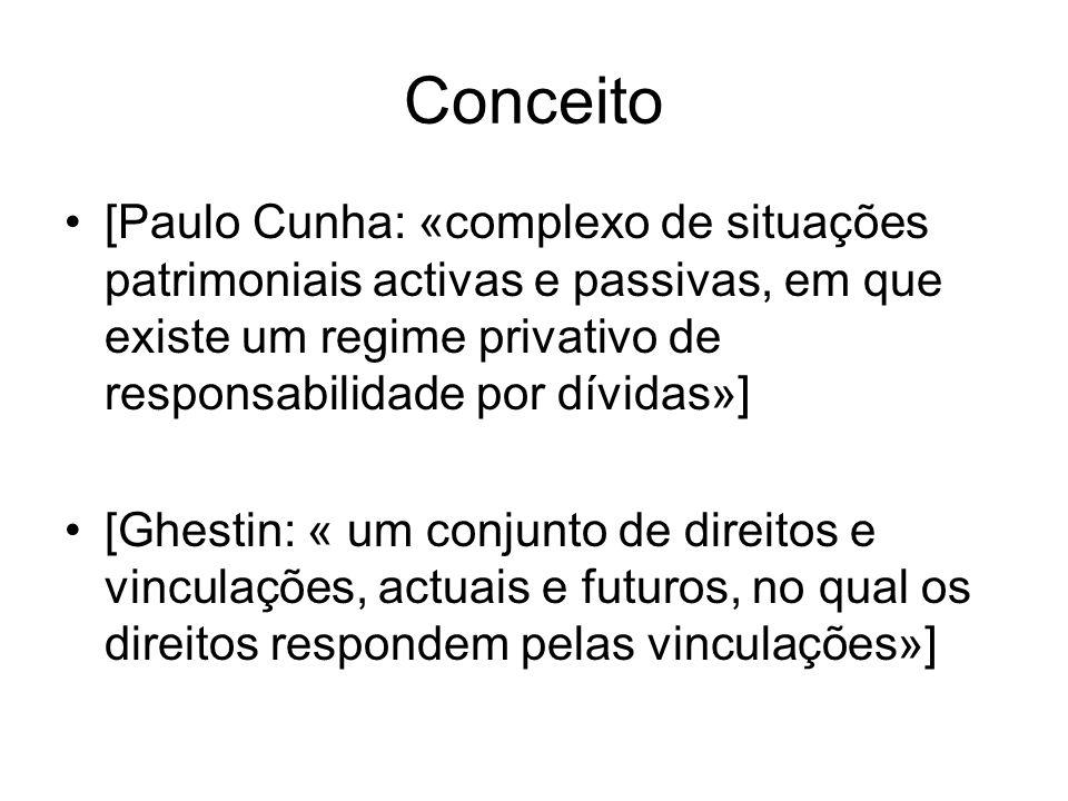 Conceito [Paulo Cunha: «complexo de situações patrimoniais activas e passivas, em que existe um regime privativo de responsabilidade por dívidas»]